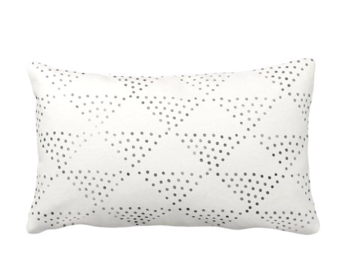 "OUTDOOR Batik Triangles Print Throw Pillow or Cover, Off-White/Gray/Black 14x20"" Lumbar Pillows/Covers, Geometric/Geo/Tribal/Hmong Design"