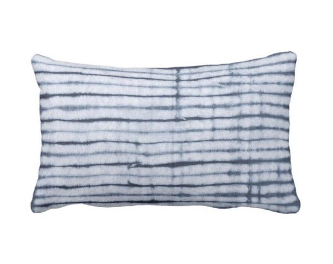 "OUTDOOR Indigo Stripe Lumbar Throw Pillow or Cover, Indigo/Navy Blue Print 14 x 20"" Pillows/Covers, Stripes/Lines/Geometric/Shibori Pattern"