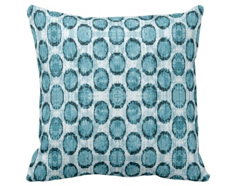 """OUTDOOR Ikat Ovals Print Throw Pillow or Cover 14, 16, 18, 20, 26"""" Sq Pillows/Covers, Teal Blue Geometric/Circles/Dots/Dot/Geo/Polka Pattern"""