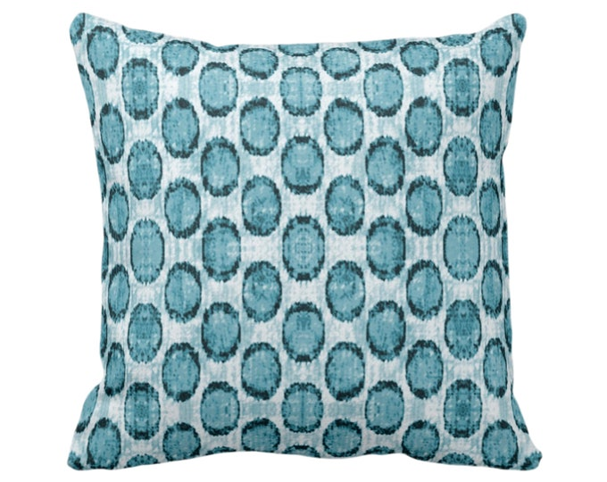 "OUTDOOR Ikat Ovals Print Throw Pillow or Cover 14, 16, 18, 20, 26"" Sq Pillows/Covers, Teal Blue Geometric/Circles/Dots/Dot/Geo/Polka Pattern"