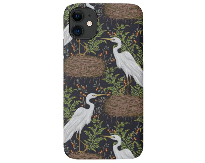 Crane iPhone 11, XS, XR, X, 7/8, 6/6S, Pro/Max/P/Plus Snap Case or Tough Protective Cover, Dark Toile/Bird Nature Print/Pattern Galaxy lg