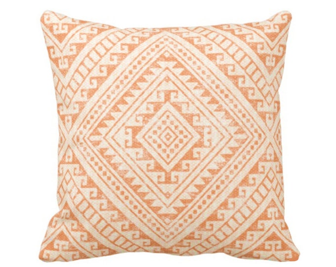 "READY 2 SHIP Diamond Geo Throw Pillow Cover, Orange 20"" Sq Covers, Light Orange Geometric/Tribal/Batik/Geo/Boho, Melon/Earthy/Apricot/Amber"