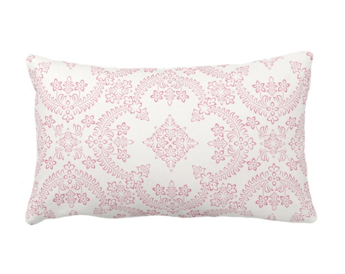 "Priano Tile Print Throw Pillow or Cover, Pink/White 14 x 20"" Lumbar Pillows or Covers, Bright Floral/Trellis Print/Pattern"