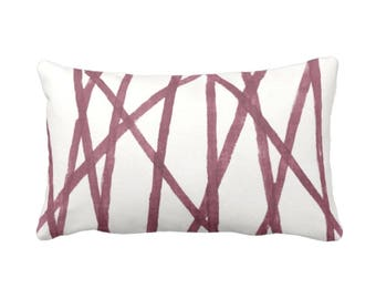 "SALE - OUTDOOR Hand-Painted Lines Throw Pillow Cover, Plum/White 14 x 20"" Lumbar Pillow Covers, Abstract/Channels/Stripes Burgundy Print"