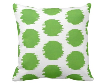 """OUTDOOR Ikat Dot Throw Pillow or Cover, Bright Green/White 14, 16, 18, 20, 26"""" Sq Pillows/Covers, Dots/Spots/Dotted/Tribal Art Print/Pattern"""