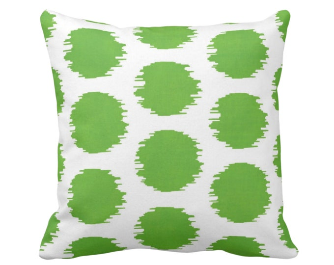 "OUTDOOR Ikat Dot Throw Pillow or Cover, Green/White 14, 16, 18, 20 or 26"" Sq Pillows or Covers, Dots/Spots/Circles/Dotted/Art Print/Pattern"
