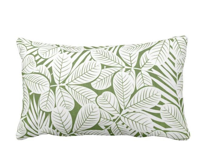 "Modern Leaves Throw Pillow or Cover, Kale & White Print 20 x 14"" Lumbar Pillows or Covers, Dark Green Retro Tropical Print/Pattern"