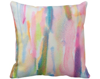 """Watercolor Abstract Throw Pillow or Cover, Multi-Colored Print 14, 16, 18, 20, 26"""" Sq Pillows/Covers, Colorful/Hand Painted Design/Pattern"""