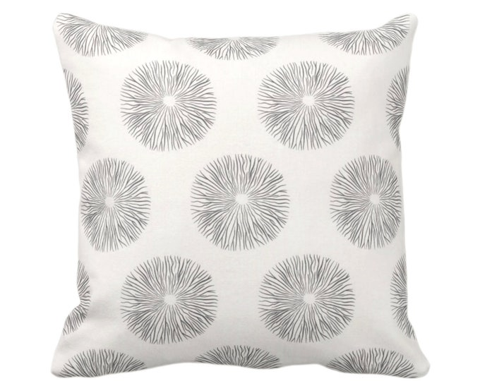 "Sea Urchin Throw Pillow or Cover, Charcoal/Off-White 16, 18, 20 or 26"" Sq Pillows or Covers, Black/Gray Modern/Starburst/Geometric/Geo Print"