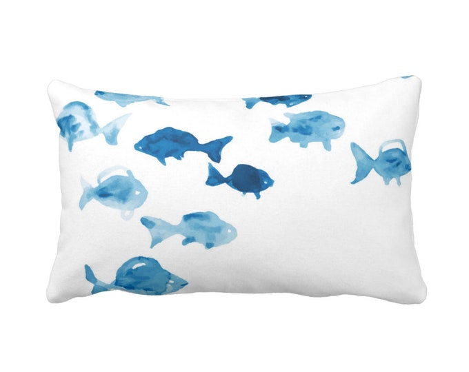"OUTDOOR Fishies Throw Pillow, 14 x 20"" Lumbar Pillows, Watercolor Hand Painted Ocean Blue/White Modern/Nautical/Fish Pattern, Light/Bright"