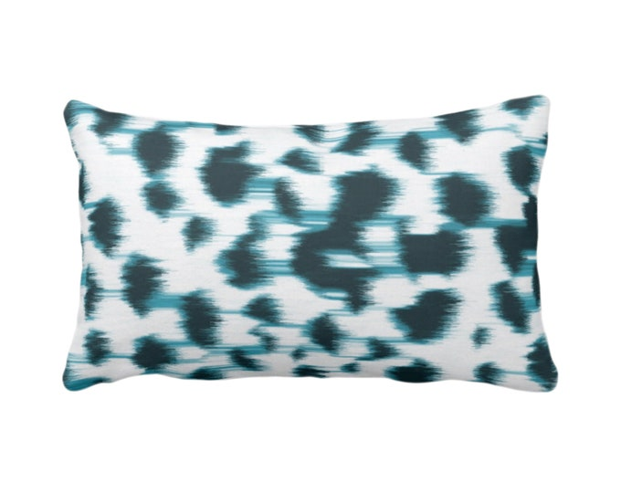 """OUTDOOR Ikat Abstract Animal Print Throw Pillow/Cover 14 x 20"""" Lumbar Pillows/Covers, Teal Blue/White Spots/Spotted/Dots/ Painted Pattern"""