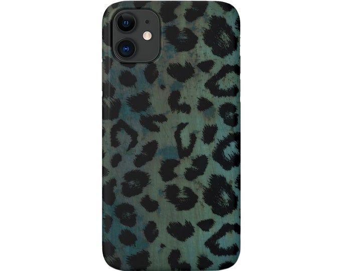 Teal Leopard iPhone 11, XS, XR, X, 7/8, 6/6S Pro/Max/P/Plus Snap Case or TOUGH Protective Cover, Blue/Green Animal Print/Pattern Galaxy lg