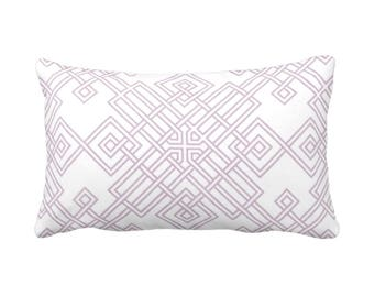 """Interlocking Geo Throw Pillow or Cover, Dusty Mauve & White 14 x 20"""" Lumbar Pillows or Covers, Purple/Pink, Tile/Trellis Print/Pattern"""