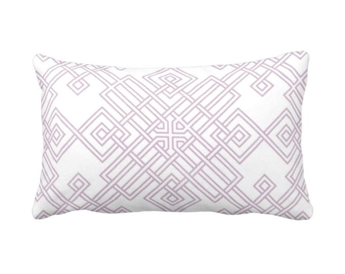 "OUTDOOR Interlocking Geo Throw Pillow or Cover, Dusty Mauve & White 14 x 20"" Lumbar Pillows/Covers, Purple/Pink, Tile/Trellis Print/Pattern"