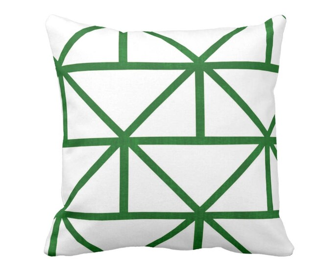 "OUTDOOR Geometric Throw Pillow or Cover, Modern Emerald/White Print 16, 18 or 20"" Sq Pillows or Covers, Green Geo/Diamond/Triangle"