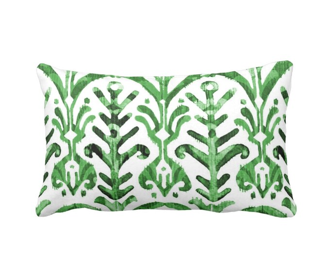 "Watercolor Print Throw Pillow or Cover, Emerald & White 14 x 20"" Lumbar Pillows or Covers, Hand-Dyed Effect, Bright/Deep Green"