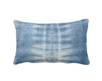 """Indigo Mud Cloth Print Throw Pillow or Cover, Indigo Blue Faded Lines 14 x 20"""" Lumbar Pillows or Covers, Mudcloth/Boho/Tribal"""