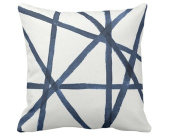 """OUTDOOR/SALE Hand-Painted Lines Throw Pillow Cover, Navy/White 18"""" Sq Covers, Blue Channels/Stripes/Lines/Print"""