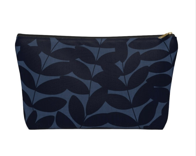 Stems Modern Botanical Print Zippered Pouch, Navy Blue Cosmetics/Pencil/Make-Up Organizer/Bag, Nature/Floral/Minimal/Leaves Design/Pattern