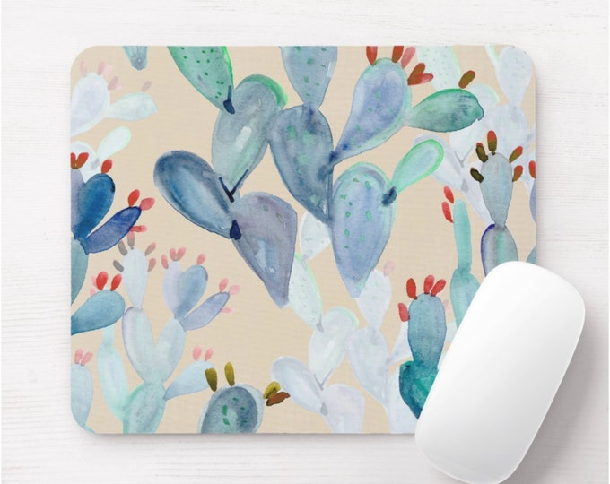Watercolor Cactus Print Mouse Pad, Jade Green & Indigo Blue Colorful Mousepad