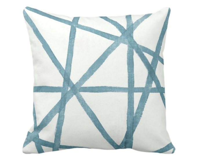 """Hand-Painted Lines Throw Pillow/Cover, Sea/White 16, 18, 20 or 26"""" Sq Pillows or Covers, Light Teal/Blue/Green Channels/Stripes/Lines/Print"""