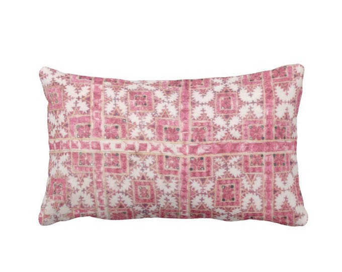 "OUTDOOR - SALE Chinese Wedding Blanket Printed Throw Pillow Cover, Pink/Coral 14 x 20"" Lumbar Pillow Covers, Vintage Miao Embroidery Print"