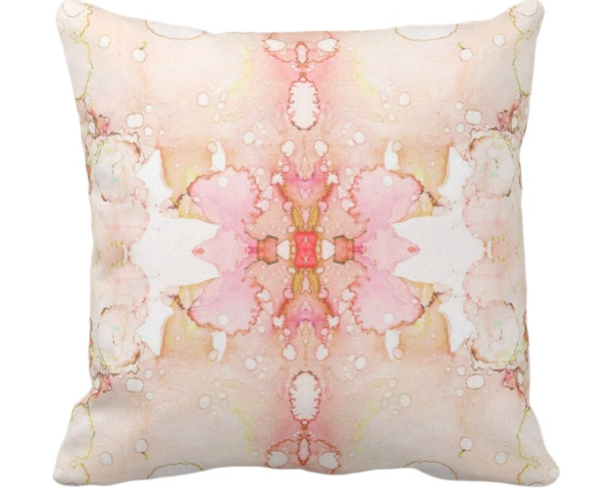 """Mirrored Watercolor Throw Pillow/Cover 14, 16, 18, 20, 26"""" Sq Pillows/Covers Peach/Pink/Light Orange Abstract Modern/Minimal Painted Print"""