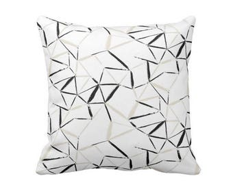 "Geometric Throw Pillow or Cover, Sand/Black/White 16, 18, 20 or 26"" Sq Pillows or Covers, Beige/Tan Sketch/Geo/Lines/Art Print"