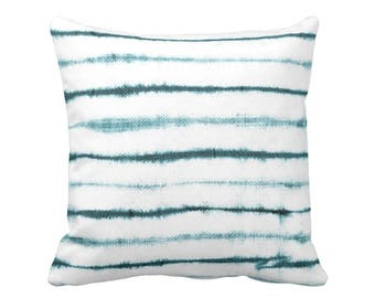 "Uneven Lines Throw Pillow or Cover, Teal/White Print 16, 18, 20 or 26"" Sq Pillows or Covers, Striped/Stripe/Line Turquoise Blue"