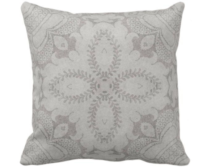 """Nouveau Damask Throw Pillow or Cover, Putty Gray 14, 16, 18, 20 or 26"""" Sq Pillows/Covers Warm Grey, Floral/Batik/Geo/Boho/Tribal Pattern"""