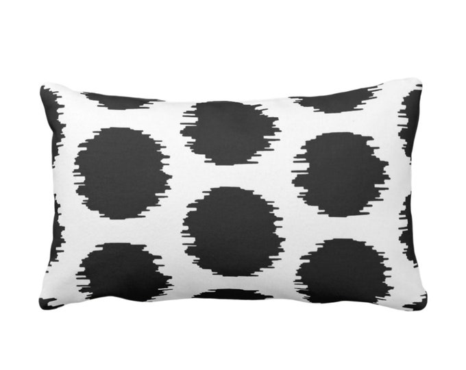 """Ikat Dot Throw Pillow or Cover, Dusty Black/White 14 x 20"""" Lumbar Pillows or Covers, Dots/Spots/Spot/Circles/Polka/Dotted/Art Print/Pattern"""