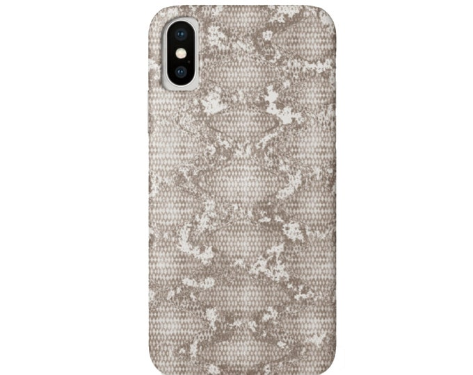 Stone Snakeskin Print iPhone XS, XR, X, 7/8, 7/8 P, 6/6S, 6 Plus/Max Snap Case or TOUGH Protective Cover Beige/Taupe Snake/Reptile/Animal