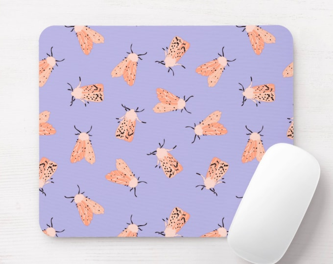 Moth Print Mouse Pad, Lilac/Living Coral Insects/Bug Print Mousepad, Light Purple/Peach Pastel/Pastels Spots/Moths/Flying/Insect/Vintage