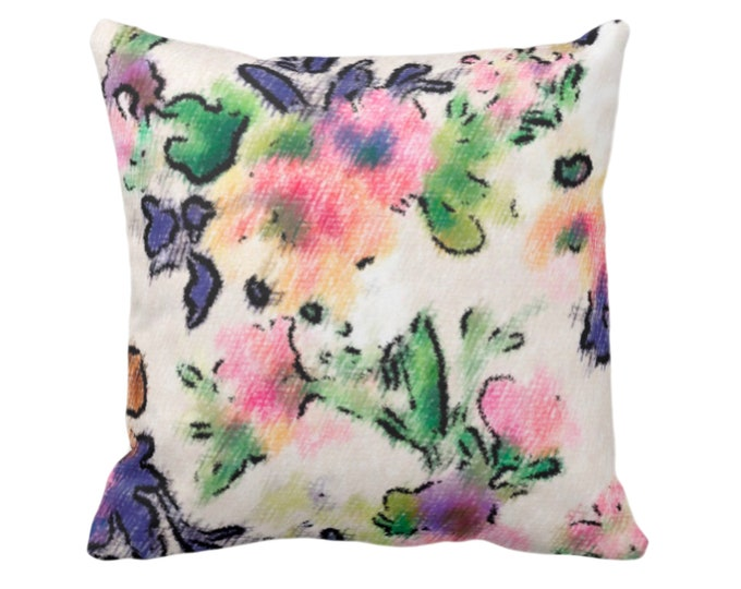 "OUTDOOR Brushstroke Floral Throw Pillow/Cover 14, 16, 18, 20, 26"" Sq Pillows/Covers, Multi-Colored Watercolor Pattern Blue/Pink/Green/Yellow"