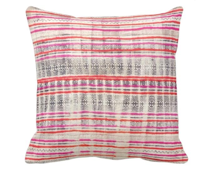 "Thai Batik Print Throw Pillow or Cover, Off-White/Indigo/Pink/Orange 16, 18, 20 or 26"" Sq Covers or Pillows, Printed Vintage"