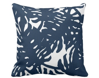 "Palm Silhouette Throw Pillow or Cover Navy/White 16, 18, 20 or 26"" Sq Pillows or Covers Tropical/Leaf/Leaves/Palms Print/Pattern"