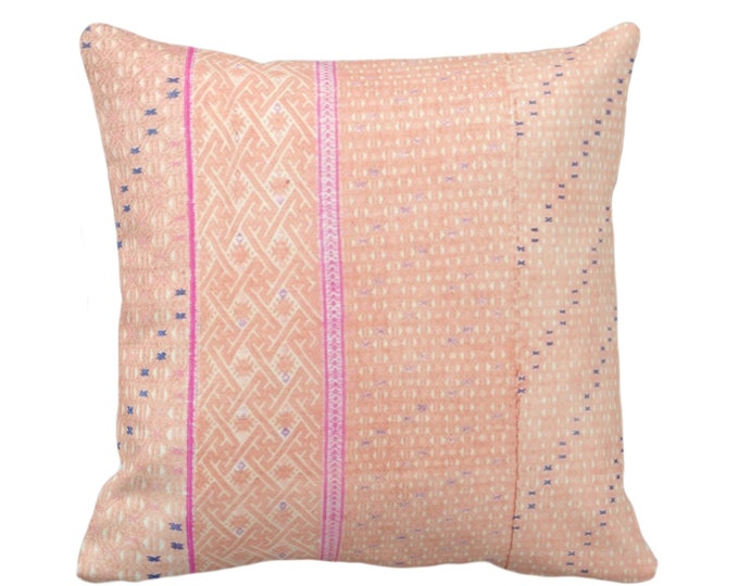 "Chinese Wedding Blanket Printed Throw Pillow or Cover, Peach 16, 18, 20"" Sq Pillows or Covers, Thai Embroidered, Pink"