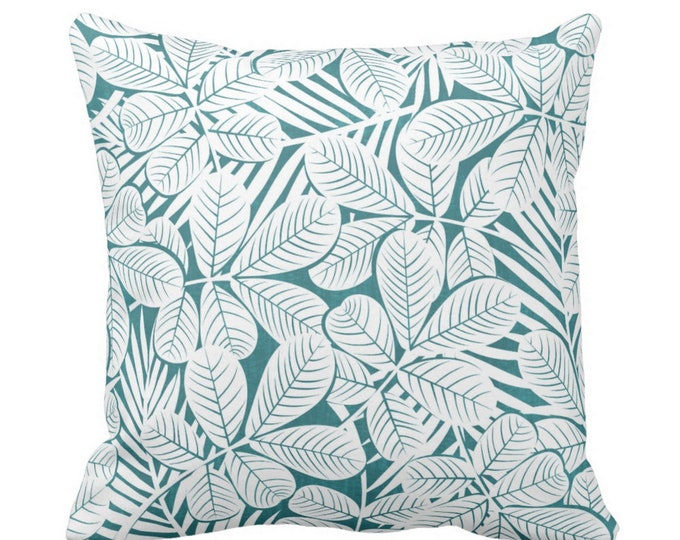 "OUTDOOR Modern Leaves Throw Pillow or Cover Teal/White Print 16, 18, 20"" Sq Pillows or Covers Blue/Green Retro Tropical Print"