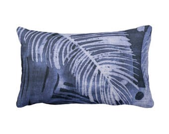 "Tropical Leaves Print Throw Pillow or Cover, Navy/Indigo 14 x 20"" Lumbar Pillows or Covers, Blue Batik Palm Leaf/Boho/Jungalo"