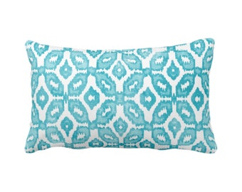 "Teal Ikat Print Throw Pillow or Cover 14 x 20"" Lumbar Pillows or Covers, Aqua & White Geometric/Diamonds/Dots/Diamond/Trellis/Geo/Lines"