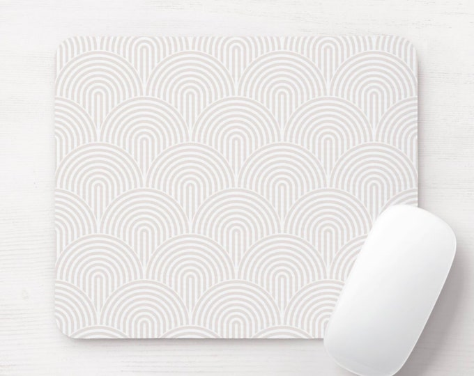 Minimal Mouse Pad/Mousepad, White & Off-White Modern Geometric Arches Print/Pattern, Lines/Geo/Circles/Abstract/Arch/Lined/Stripes/Striped
