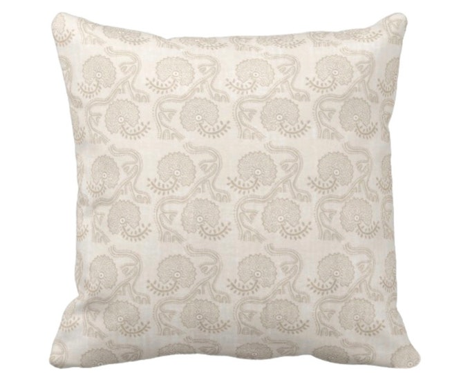 "Block Print Floral Throw Pillow or Cover, Cream 14, 16, 18, 20, 26"" Sq Pillows/Covers, Earthy Beige/Off-White Flower/Batik/Geo/Boho Pattern"