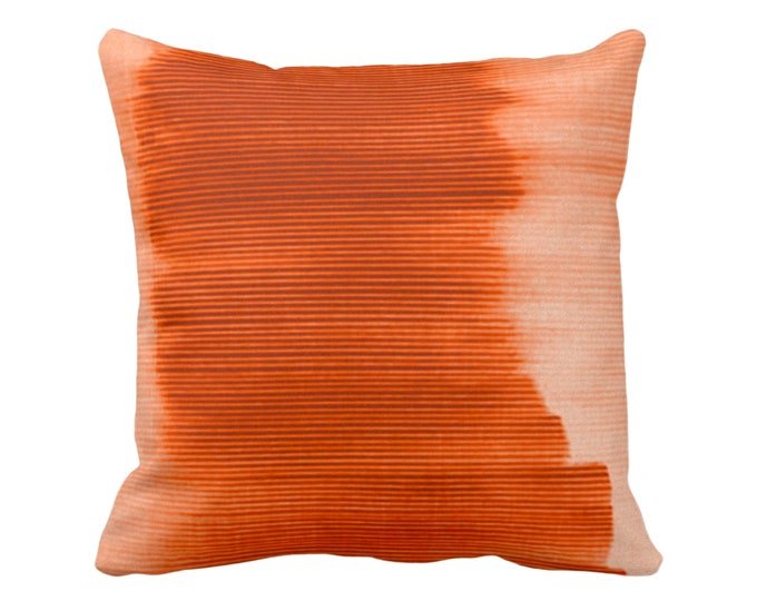 "Copper Ombre Stripe Throw Pillow/Cover 16, 18, 20, 26"" Sq Pillows/Covers, Bright Orange/Red Geometric/Print/Design/Striped/Stripes/Geo/Lines"
