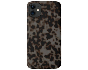 Tortoise Shell iPhone 11, XS, XR, X, 7/8, 6/6S Pro/Max/Plus/P Snap Case or TOUGH Protective Cover, Gray Printed Tortoiseshell Design Galaxy