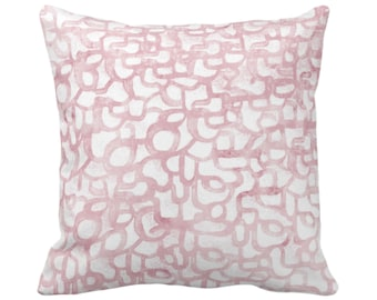 "Abstract Curves Throw Pillow or Cover, Blush 14, 16, 18, 20, 26"" Sq Pillows/Covers Light Rose/Pink Painted Modern/Geometric/Geo/Lines Print"