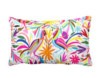 """OUTDOOR Colorful Pastels Otomi Throw Pillow or Cover, Printed 14 x 20"""" Lumbar Pillows/Covers, Bright/Mexican/Boho/Bohemian/Floral Print"""