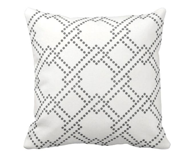"""Linked Squares Throw Pillow or Cover, Charcoal/White 16, 18, 20, 26"""" Square Pillows or Covers, Dark Grey Geometric Print/Pattern"""