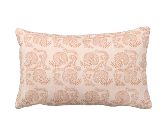 """OUTDOOR Block Print Floral Throw Pillow or Cover, Dusty Coral 14 x 20"""" Lumbar Pillows or Covers, Earthy Orange Flower/Batik/Boho Pattern"""