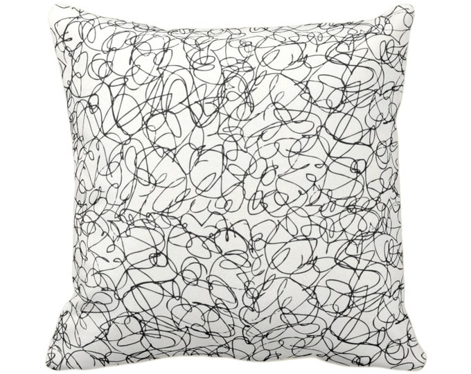 "OUTDOOR Scribble Lines Throw Pillow or Cover, Ivory/Black 14, 16, 18, 20 or 26"" Sq Pillows/Covers, Subtle/Modern/Abstract/Line Print/Pattern"