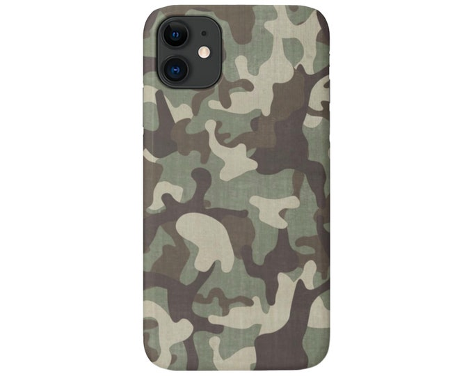 Distressed CAMO iPhone 11, XS, XR, X, 7/8, 6/6S, Pro/Max/P/Plus Snap Case or Tough Protective Cover, Camouflage/Light/Olive Print/Pattern